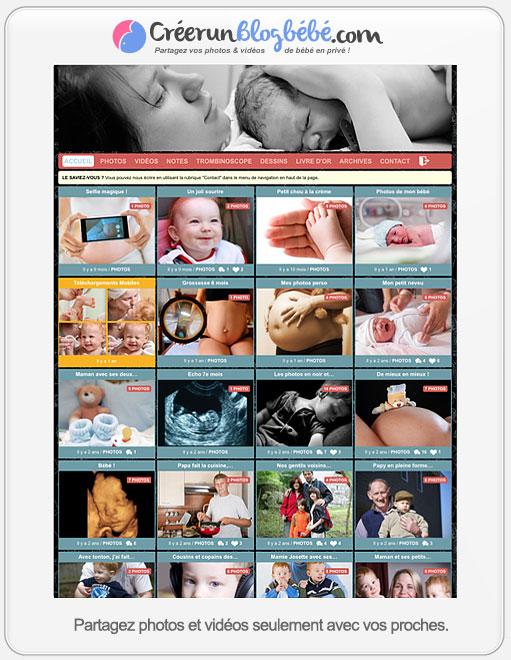 Partage photo sécurisé en ligne pour albums photo bébé et vidéos de famille