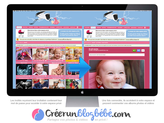 Blog naissance : Idéal pour partager les toutes premières photos de votre bébé avec vos proches, en toute sécurité !